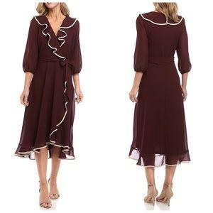 Gabby Skye Long Sleeve Ruffle Wrap Dress